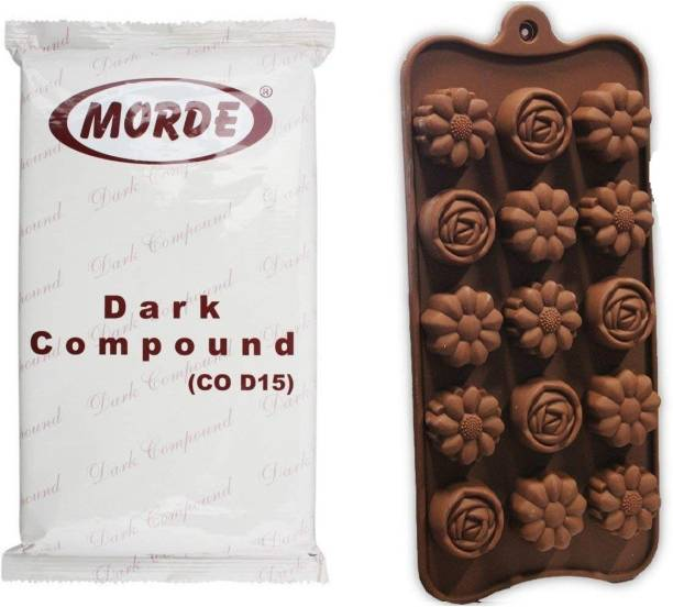 Morde Dark Compound Slab- 400 g and 15 Cavity Silicone Multi Flower Shape Chocolate Mould/Ice/Sweet Mould.(Multi Colour) Bars