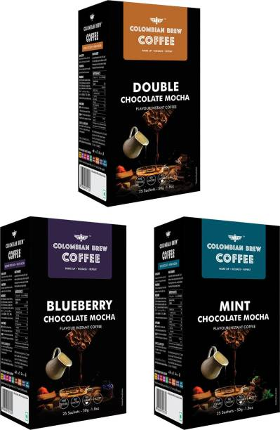 Colombian Brew Double Chocolate Mocha 50g, Mint Chocolate Mocha 50g, Blueberry Chocolate Mocha 50g, Instant Coffee