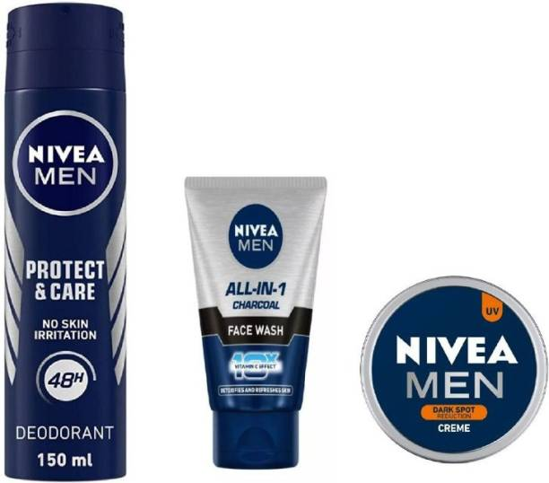 NIVEA Men Protect Care Deo 150ML , All In One Charcoal Face Wash 50 ML , Dark Spot Reduction 30 Ml #388