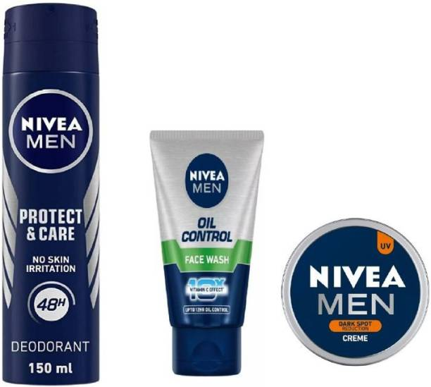 NIVEA Men Protect Care Deo 150ML , Oil Control Face Wash 50 ML , Dark Spot Reduction Creme 30 Ml #382
