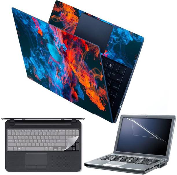 Anweshas 4 in 1 Combo Pack with Laptop Skin Sticker Decal, Palmrest Skin, Screen Protector, Key Guard for 15.6 Inch Laptop - Abstract Smoke Combo Set