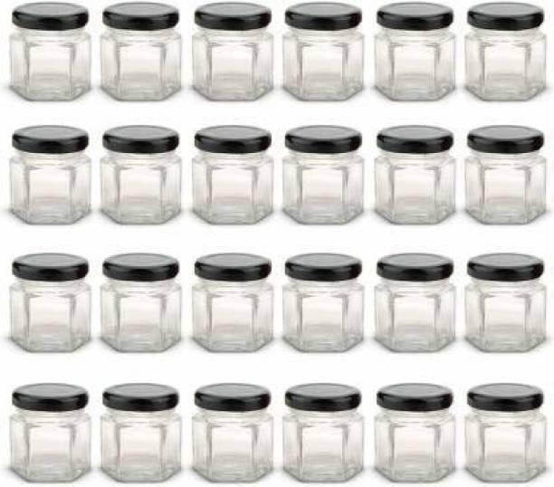 vetreo Small Mini Hexagonal Shape Glass Jar with Air Tight Metal Cap Mini Glass Hexagon Jars, Mini Hexagon Glass Jars with Black Lids -12pcs 40 ml Glass  - 40 ml Glass Grocery Container
