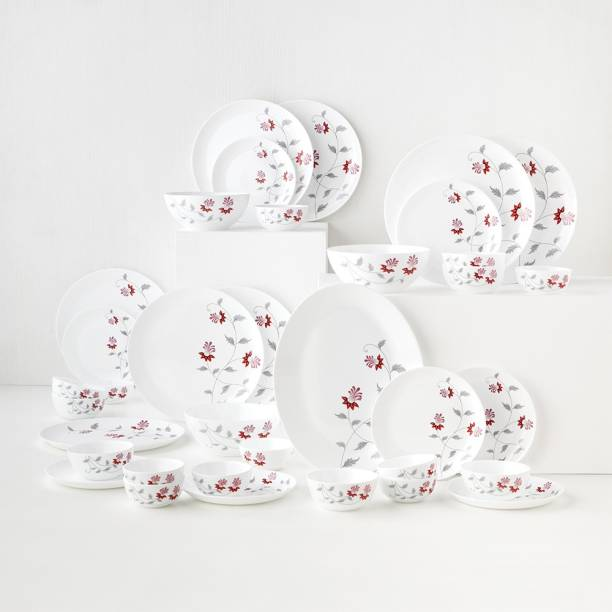 Larah by Borosil Pack of 36 Opalware Moon - Flower Pot Dinner Set
