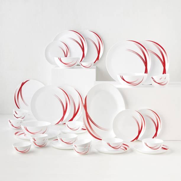 Larah by Borosil Pack of 36 Opalware Moon - Red Stella Dinner Set