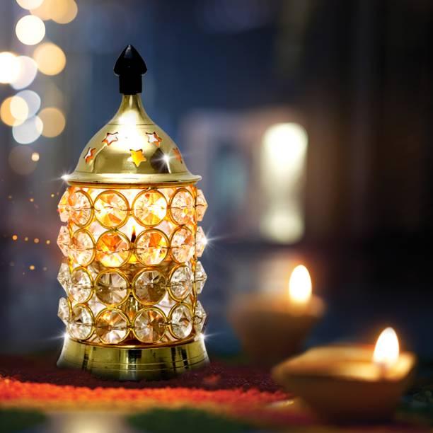 Shubhkart Crystal Deep Medium Brass Table Diya