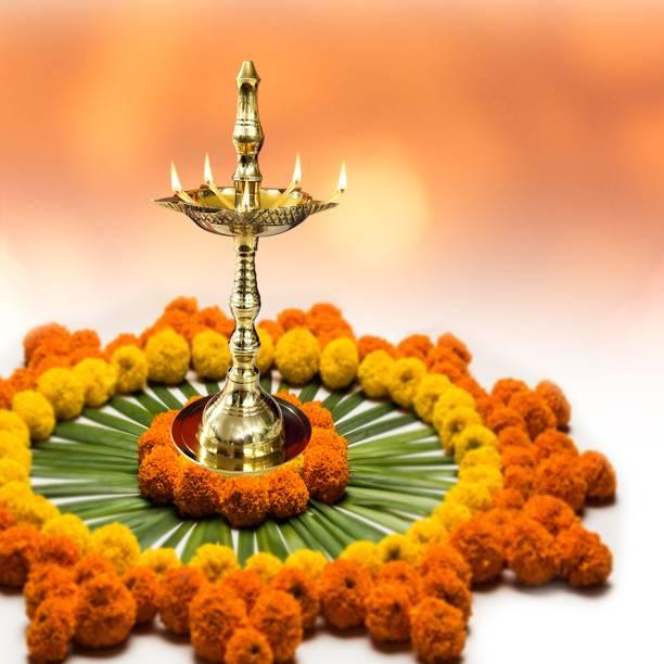 Shubhkart Kerla Samai Brass Table Diya Brass Table Diya
