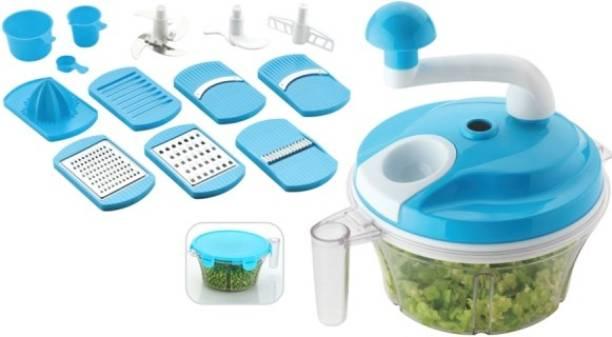 Shopixo 11 in 1 Manual Food Processor - Chopper, Blender, Atta Maker, Salad Maker, Slicer, Grater, Churner, Peeler Vegetable Chopper (1 chopper with 11 blade) Dough Maker