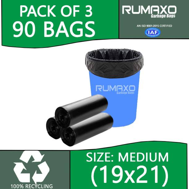 Rumaxo 51 MICRON HOME AND OFFICE USE GARBAGE BAGS & ECO FREINDLY 3 ROLLS Medium 34.06 L Garbage Bag