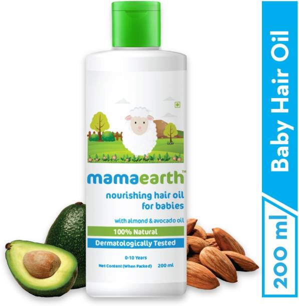 MamaEarth Nourishing Baby Hair Oil, with Almond & Avocado Oil - 200 ml` Hair Oil