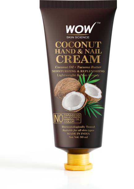 WOW SKIN SCIENCE Coconut Hand & Nail Cream - Moisturizing & Replenishing - Lightweight & Non-Greasy - Quick Absorb - for All Skin Types - No Parabens, Silicones, Mineral Oil & Color - 50mL