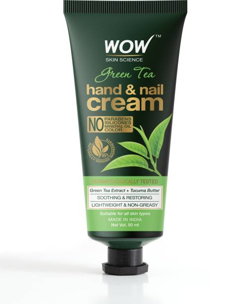 WOW SKIN SCIENCE Green Tea Hand & Nail Cream - Soothing & Restoring - Lightweight & Non-Greasy - Quick Absorb - for All Skin Types - No Parabens, Silicones, Mineral Oil & Color - 50mL