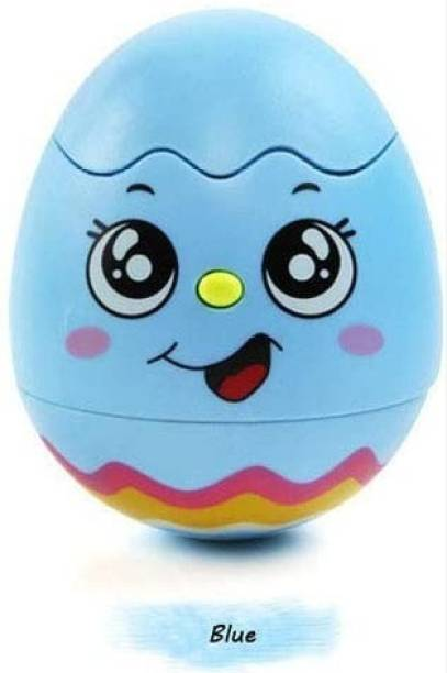 Maadi Musical Chicken Egg Toy for Babies with Light and Musical Sound, Roll, Shake, Wobbling, Tumbler Battery Operated for Baby Girl & Boy Early Years Kids.(Blue)