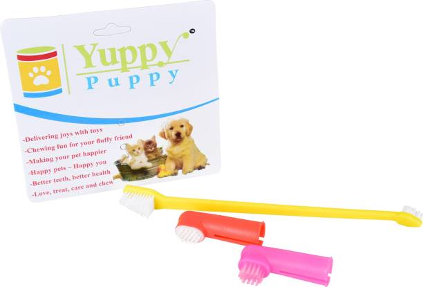 Yuppy Puppy CLEARNING DENTAL FINGER TOOTHBRUSH SET OF 2 WITH 1 DOUBLE HEADED REGULAR TOOTHBRUSH FOR PETS Pet Toothbrush