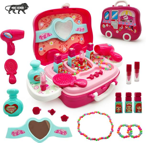 Miss & Chief Cosmetic Set case With Wheel Suitcase with Makeup Accessories for Children Girls (18 Pieces)