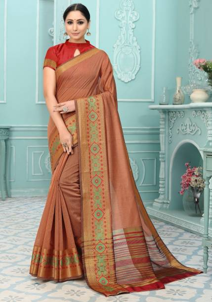 Sanku Fashion Woven, Embroidered, Self Design Arani Pattu Cotton Silk, Art Silk Saree