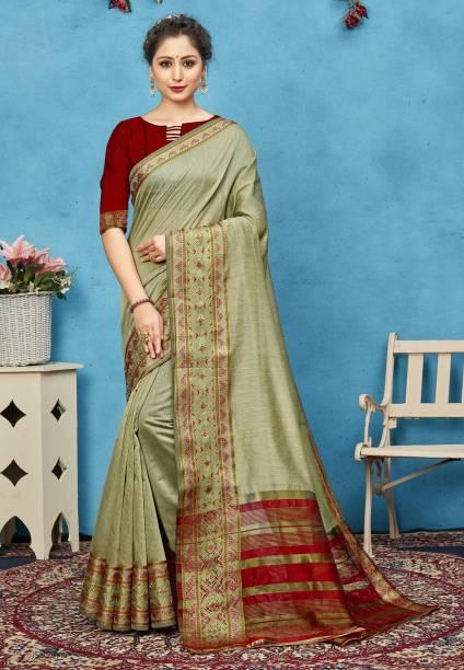 Sanku Fashion Embroidered, Woven Paithani Cotton Silk, Art Silk Saree