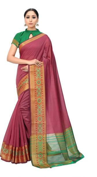 Sanku Fashion Woven, Embroidered, Self Design Kanjivaram Cotton Silk, Silk Blend Saree