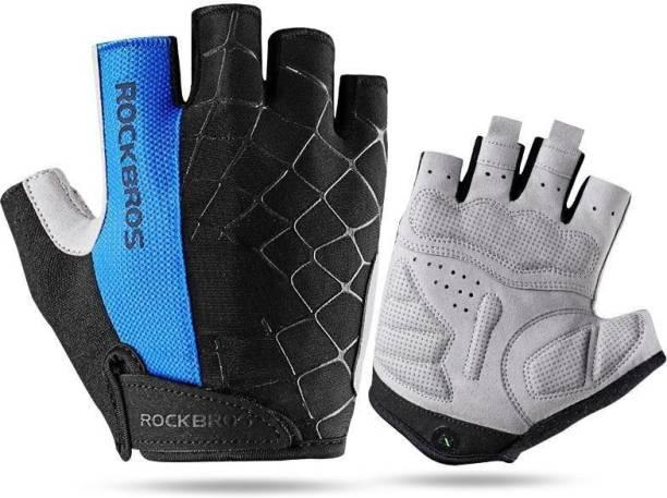 RockBros SPRUGAL Sports & Fitness Gloves, Anti-Vibration Inner Padding Cycling Gloves
