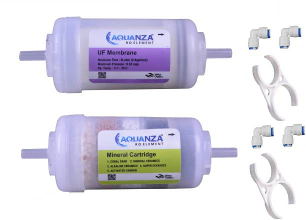 """AQUANZA 4""""UF MEMBRANE AND 4""""MINERAL CARTRIDGE Solid Filter Cartridge and 4 Piece Push Fit Elbow and 2ps clamp for RO Water Purifiers Solid Filter Cartridge"""
