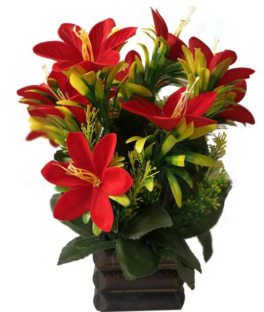 Ryme Multicolor Lily Artificial Flower  with Pot