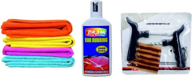 dr.3m CAR SCRATCH REMOVER 100gm.(30gm EXTRA)+4pc.CAR MICROFIBER CLOTH (SKY BLUE,ORANGE,PINK ,YELLOW). + Panchar kit ( Master combo Pack) Combo