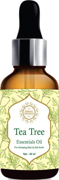 Nirmaya Organics Organic Tea Tree Essential Oil , Reduces Acne & Dark Spots, Treats Dandruff, Face, Hair Care, Pure & Undiluted Therapeutic Grade Oil, Excellent for Aromatherapy