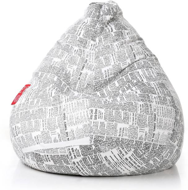 STYLE HOMEZ XXL Classic Cotton Canvas Printed Teardrop Bean Bag  With Bean Filling