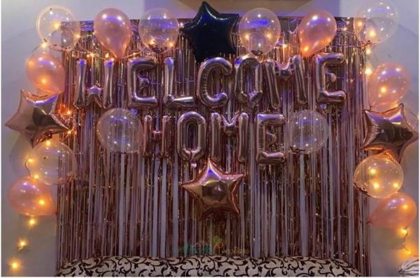 Almoda Creations Premium Welcome Home Combo Pack (Welcome Home Banner, 4 star, 25 HD metallic Balloons, Led Fairy, 2 Curtains