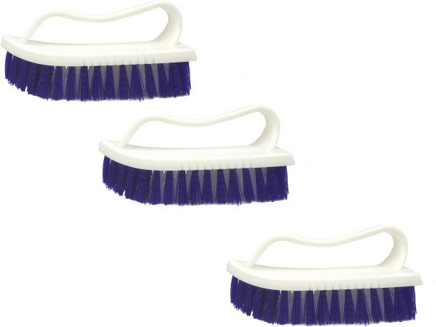 De-Ultimate Set Of 3 Pcs Multipurpose Tiles Cleaning Brush with Handle for Cleaning Bathroom Kitchen Stove Bathtub Sink Wall Surface Microfibre Wet and Dry Brush