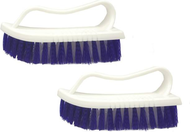 Adhvik Set Of 2 Pcs Multipurpose Tiles Cleaning Brush with Handle for Cleaning Bathroom Kitchen Stove Bathtub Sink Wall Surface Microfibre Wet and Dry Brush