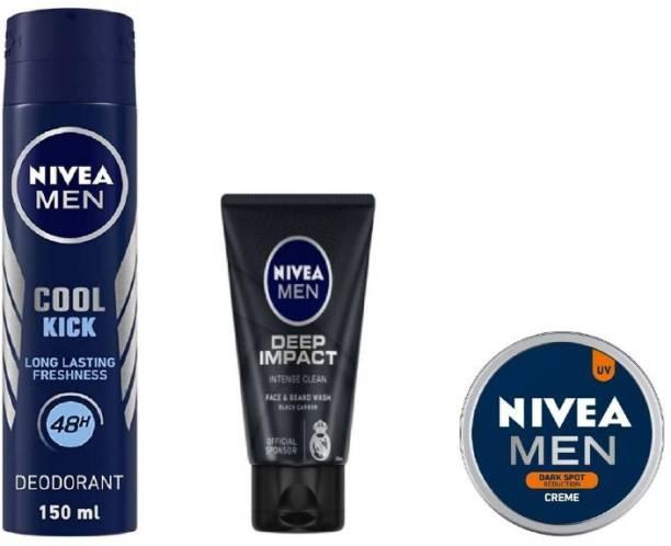 NIVEA Men Cool Kick Deo 150ML , Deep Impact Face Wash 50 Ml ,Dark Spot reduction Creme 30 Ml #436