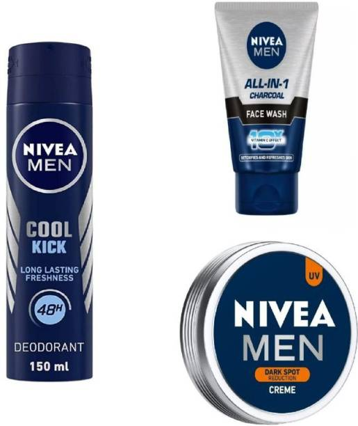 NIVEA Men Cool Kick Deo 150ML , All In One Charcoal Face Wash 50 Ml , Dark Spot Reduction Creme 75 Ml #453