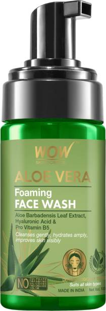 WOW SKIN SCIENCE Aloe Vera Foaming  - with Aloe Vera Extract & Vitamin B5 - for Cleansing & Hydrating Skin - No Sulphate, Parabens, Silicones, Fragrance & Color - 100mL Face Wash