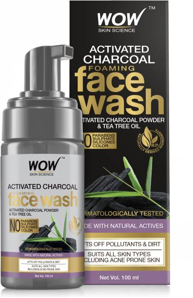 WOW SKIN SCIENCE Activated Charcoal Foaming  - with Activated Charcoal Powder & Tea Tree Oil - Helps Lift Off Pollutants & Dirt - No Parabens, Sulphate, Silicones & Color - 100mL Face Wash
