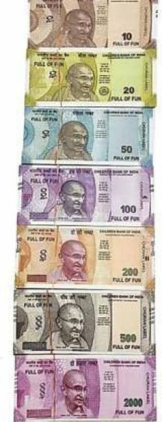Aagaz Fake Notes Combo (10*7=70 Notes) (Rs.10, Rs.20, Rs.50, Rs.100, Rs.200, Rs.500, Rs.2000 Notes) Indian Fake Currency Gag Toy (Multicolor) Dummy Currency 70 Note for Kids Gag Toy
