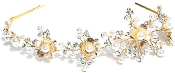 JBHB Silver Brass Foldable Floral Stone Hair Clip with Pins for Women Hair Chain