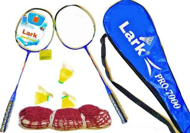 LARK Badminton Racquet Set Of 2 Piece With 6 Piece Nylon Shuttle Badminton Kit WITH NET Badminton Kit