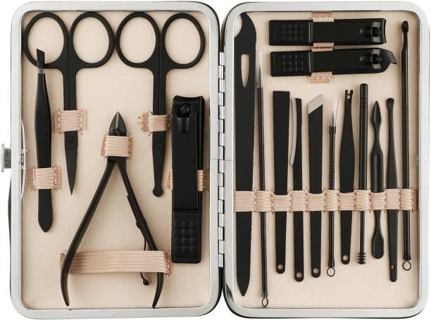 Beauté Secrets Manicure Pedicure kit,18pcs Stainless Steel Nail Clippers Pedicure Set with Black Leather Storage Case