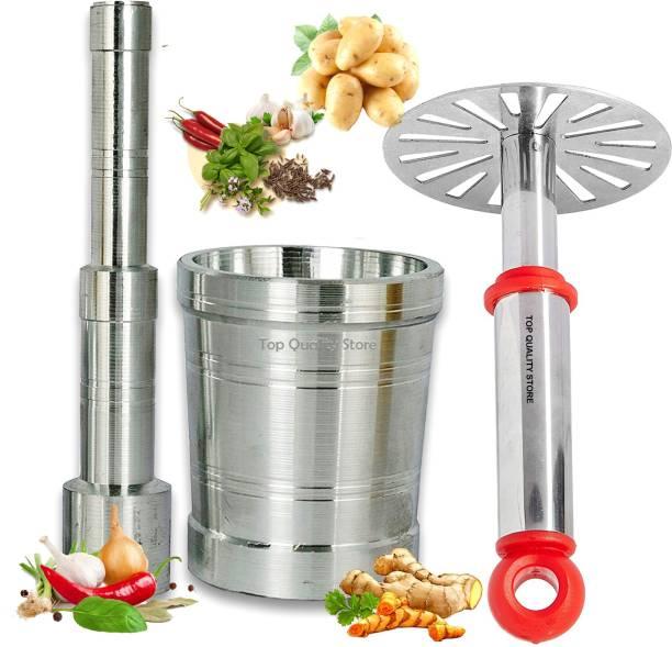 Top Quality Store Stainless Steel Potato Vegetable Pav Bhaji Masher High Quality Mortar & Pestle/Imam Dasta/Ohkli Musal/Kharal/Khalbatta/Okhli Masher/masher Aluminium, Steel, Plastic Masher