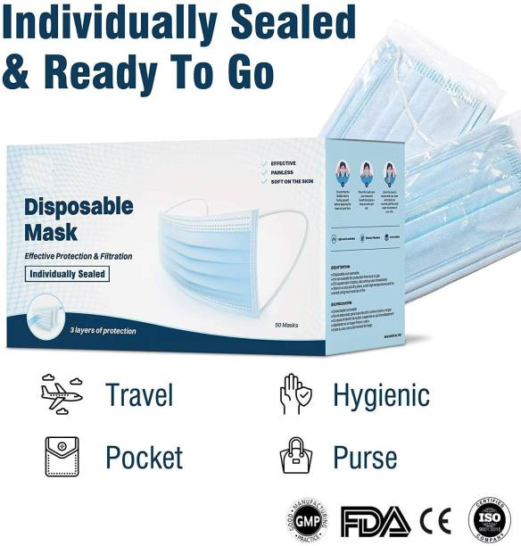 DM SPECIALLY FOR SPECIALIST Single Piece Packing Nose Pin 3 Ply Face Mask Used in Hospital, Clinic CE/ ISO 9001:2015 Certified Water Resistant Surgical Mask