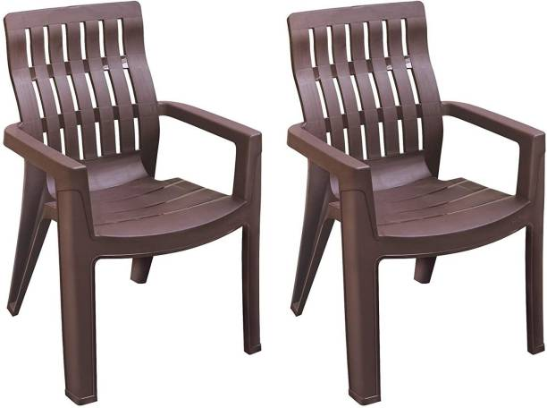 MAHARAJA Fortuner Plastic Chair Set of 2 with Matt & Glossy Texture for Home, Office and Restaurant-Brown Plastic Outdoor Chair