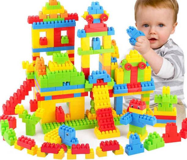 FRAONY BEST GIFT BABY 100 Pcs Building Blocks Shapes |Puzzles,Skill Development,Hand Eye cordination, Non-Toxic | Brain Building |Creative |Learning |Educational |Puzzle Assembling Building Unbreakable Kids Toy Set