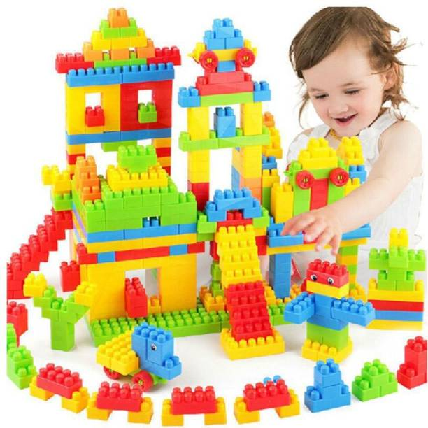 FRAONY Blocks for Kids (92 Pieces +8 Tyres) 100+ Pieces Construction Building Blocks Smooth Rounded Edged, DIY Combo, Brain Building |Creative |Learning |Educational |Puzzle Assembling Building Unbreakable Kids Toy Set