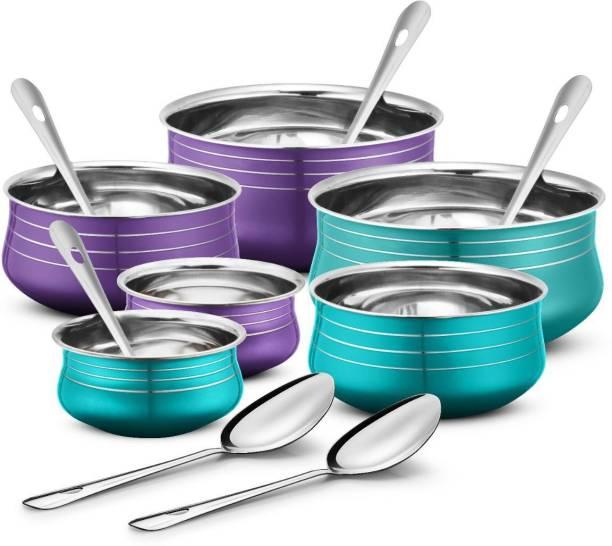 Urban Chef Stainless Steel 6 Pcs Handi Set with 6 Pcs Service Spoon- 6+6= 12 Pcs Set Bowl, Spoon Serving Set