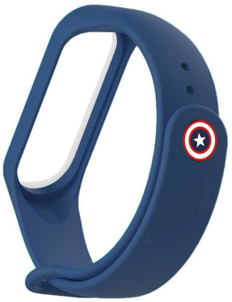 WEWIN Replacement Soft Silicone Wrist Band Premium Quality Strap For Xiaomi Mi Band 3/4 With Captain America button (NOT FOR MI Band 5) (Midnight Blue) Smart Band Strap
