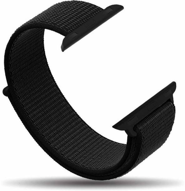 Frazil Soft Lightweight Breathable Nylon Loop Sport 38mm/40mm Band Black Smart Watch Strap