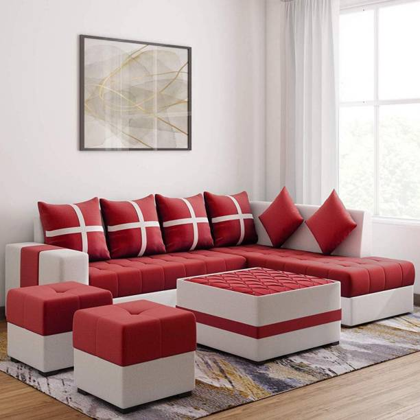 Torque Jamestown L Shape RHS sofa set with center table and Puffy Fabric 8 Seater  Sofa