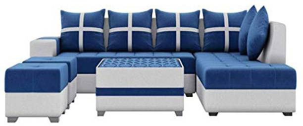 Torque Fabric 3 + 2 + 1 + 1 Blue Sofa Set