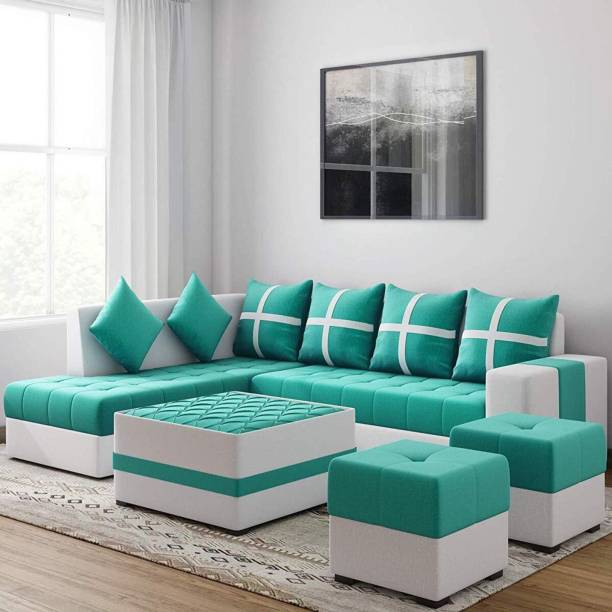 Torque Jamestown L Shape LHS Set with Center table and Puffy Fabric 3 + 2 + 1 + 1 Aqua Blue Sofa Set