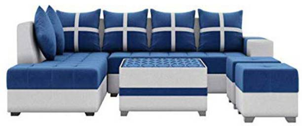 Torque Jamestown L Shape LHS Set with Center Table and Puffy Fabric 3 + 2 + 1 + 1 Blue Sofa Set